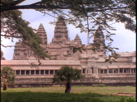 Branches hang over the Angkor Wat temple in Cambodia Stock Video Footage