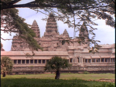 Branches hang over the Angkor Wat temple in Cambodia Footage