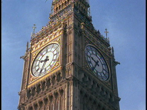 Big Ben rises above the Houses of Parliament Stock Video Footage
