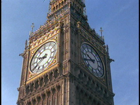 Big Ben Rises Above The Houses Of Parliament stock footage