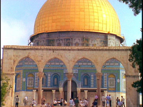 Tourists visit the Dome of the Rock in Israel Footage