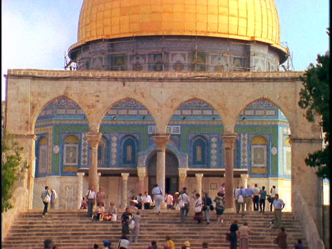 Tourists visit the Dome of the Rock in Israel Stock Video Footage