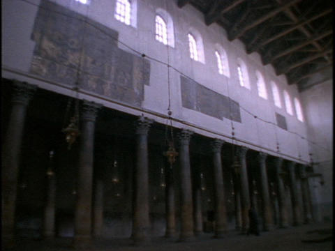 Tall columns and a stark interior characterize the Church... Stock Video Footage