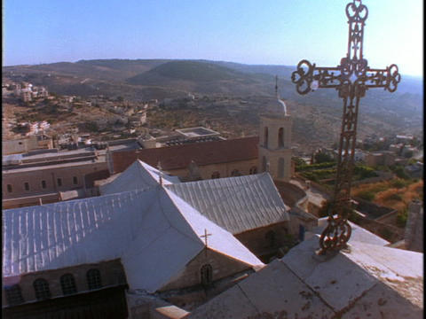 A cross adorns the roof of the Church Of the Nativity in... Stock Video Footage