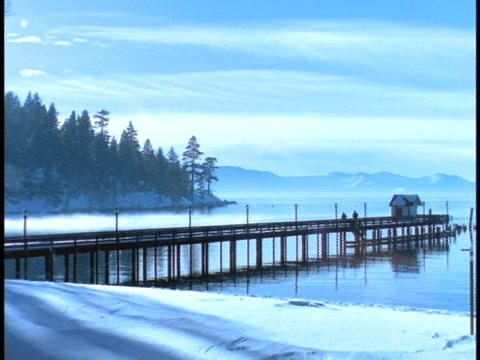Mist rises from Lake Tahoe Footage