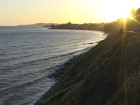 Waves wash against the shore near Santa Barbara, California Stock Video Footage