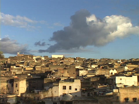 Ancient houses fill the Moroccan city of Fez Stock Video Footage