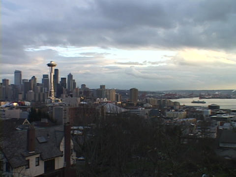 Heavy clouds hang over Seattle, Washington Stock Video Footage
