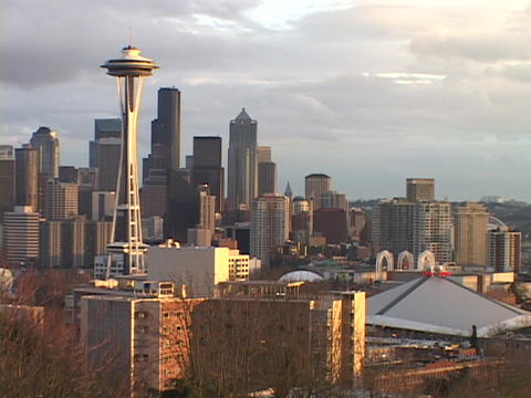 The Space Needle rises above the Seattle skyline in... Stock Video Footage