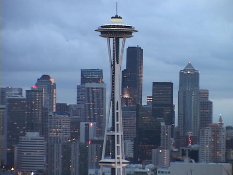 The Space Needle stands in front of the Seattle skyline Stock Video Footage