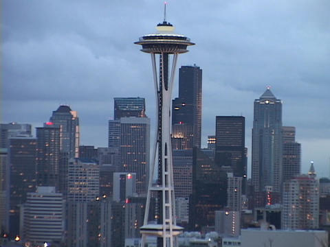 The Space Needle stands in front of the Seattle skyline Footage