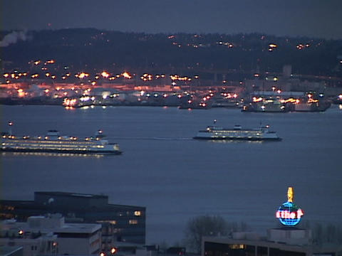 Ferryboats cross the Seattle harbor Stock Video Footage