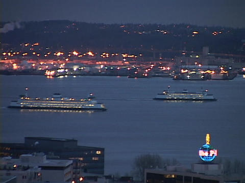 Ferryboats cross the Seattle harbor Footage