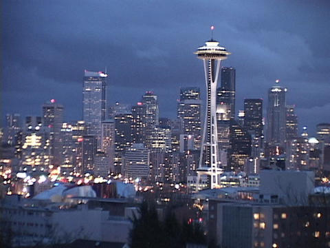 The Space Needle dominates the Seattle skyline Stock Video Footage