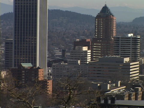 Skyscrapers fill downtown Portland Stock Video Footage