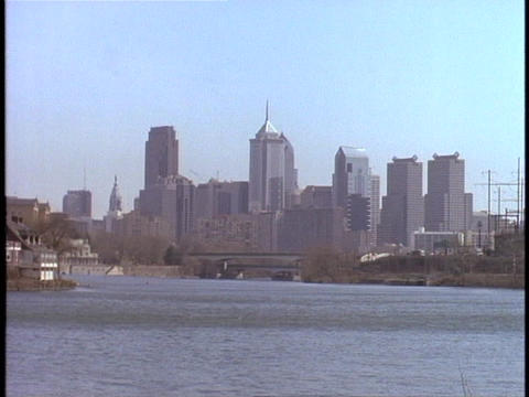 The Philadelphia skyline stands in the distance on a hazy... Stock Video Footage