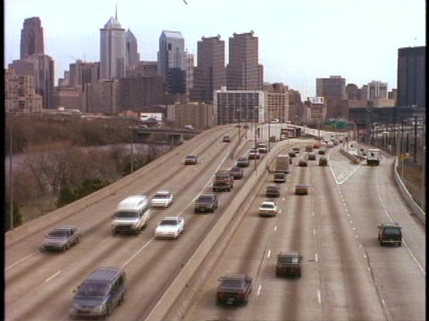 Traffic moves on an eight-lane highway in Philadelphia, Pennsylvania Footage