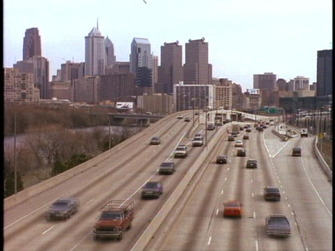 Traffic moves on an eight-lane highway in Philadelphia,... Stock Video Footage