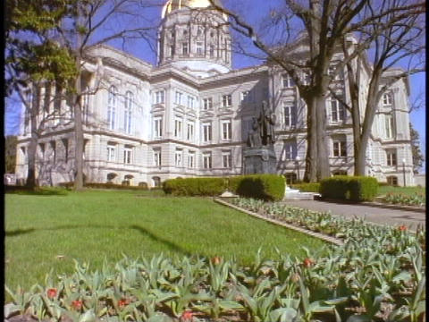 A long lawn leads up to the Georgia Capitol Building Footage