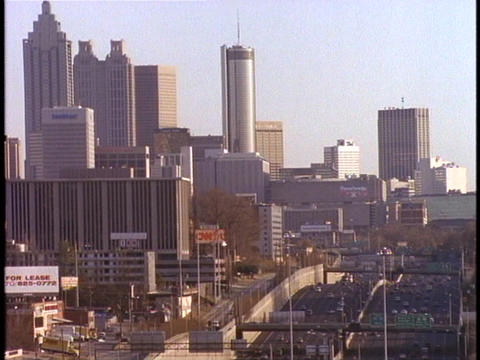Skyscrapers rise above downtown Atlanta Stock Video Footage