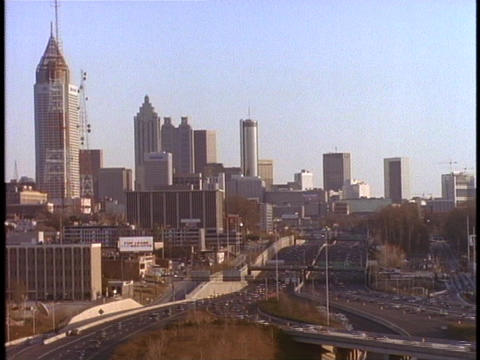 Traffic speeds to and from Atlanta Stock Video Footage