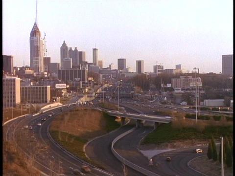 Traffic moves along the freeway in Atlanta, Georgia Footage