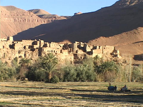 An ancient fortress resides in the middle of a Moroccan... Stock Video Footage