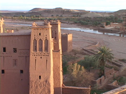 A building with decorative towers resides in a Morocco... Stock Video Footage