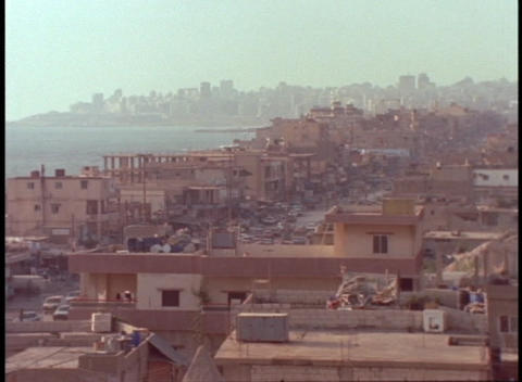 Homes in suburban Beirut crowd together along the coast Footage