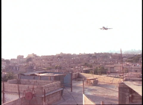 A plane prepares to land at Beirut airport Stock Video Footage