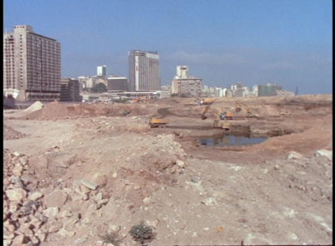 Beirut shows signs of bombings after the civil war Stock Video Footage