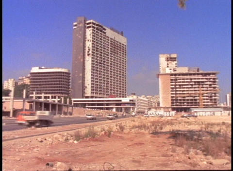 Bombed out hotels stand in Beirut, Lebanon Footage