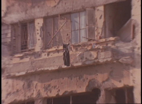 Bombed out buildings stand in Beirut, Lebanon Footage