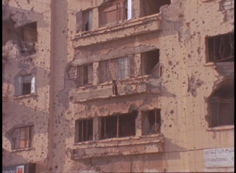 Bombed out buildings stand in Beirut, Lebanon Stock Video Footage