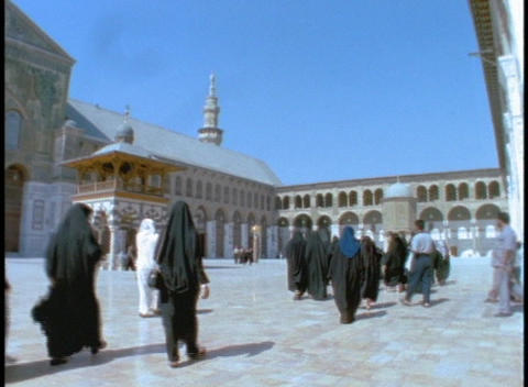 Muslim worshipers walk inside a Mosque in Syria Footage
