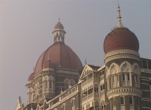 The domes of the Taj Mahal hotel in Bombay India Stock Video Footage