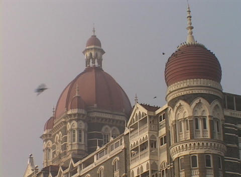 The domes of the Taj Mahal hotel in Bombay India Footage