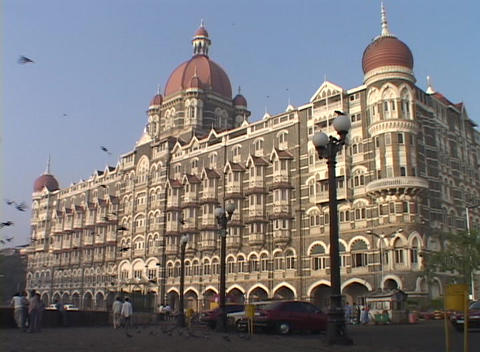 The exterior of the Taj Mahal Hotel in Bombay, India with... Stock Video Footage