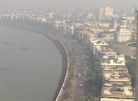 A high angle view of Bombay India from the Oberoi Hotel Stock Video Footage