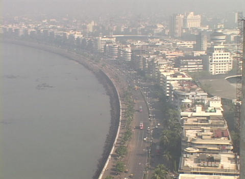 A high angle view of Bombay India from the Oberoi Hotel Footage