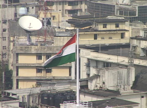 A high angle view of Bombay India with the Indian flag in... Stock Video Footage