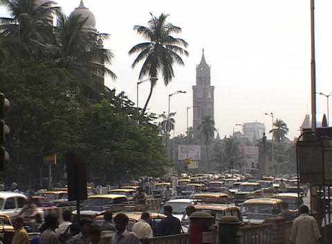 Crowds and traffic outside Mumbai railway station Footage