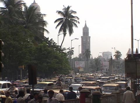 Crowds and traffic outside Mumbai railway station Footage