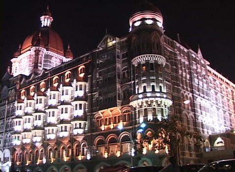 The exterior of the Taj Mahal Hotel in Bombay, India at... Stock Video Footage