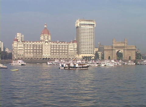 The exterior of the Taj Mahal Hotel in Bombay, India as... Stock Video Footage