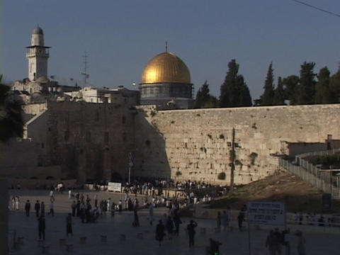 The Dome of the Rock sits above the Wailing Wall in the... Stock Video Footage