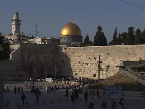 The Dome of the Rock sits above the Wailing Wall in the Old City of Jerusalem Footage