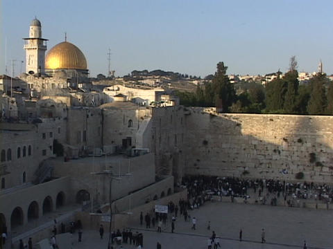 The Dome of the Rock atop the Wailing Wall in the Old... Stock Video Footage