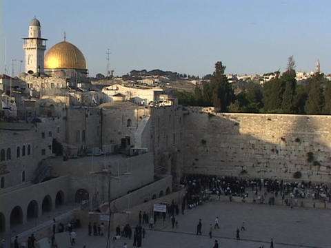The Dome of the Rock atop the Wailing Wall in the Old City of Jerusalem Footage