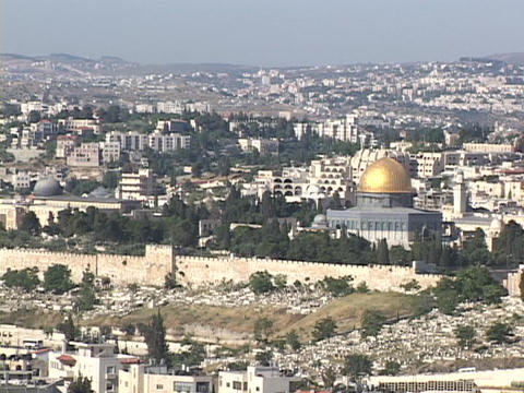 Jerusalem stretches to the horizon with the Dome of the Rock as a prominent feature Footage